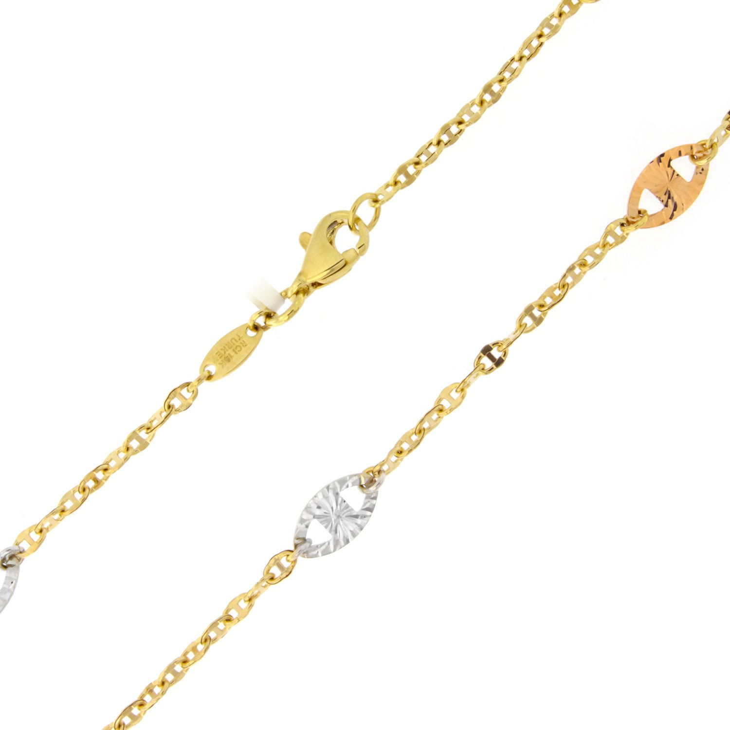 14k Yellow, White and Rose Gold Tri-Color Diamond-Cut Mariner Link Adjustable Anklet - 9'' - 10''