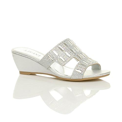 Ajvani Womens Ladies mid Low Heel Wedge Peeptoe Cut Out Diamante Mules Sandals Shoes Size