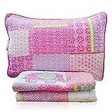 Brandream Girls Quilt Sets Twin Size Pink Elephant Bedding Sets 100% Cotton Kids Bedspreads Set
