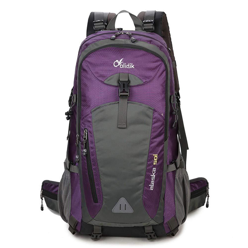 violet 50 LIUQI-Hikingsac à dos Sac de randonnée en Nylon de Grande capacité pour Le Sac à Dos d'alpinisme en Plein air pour Hommes et Femmes