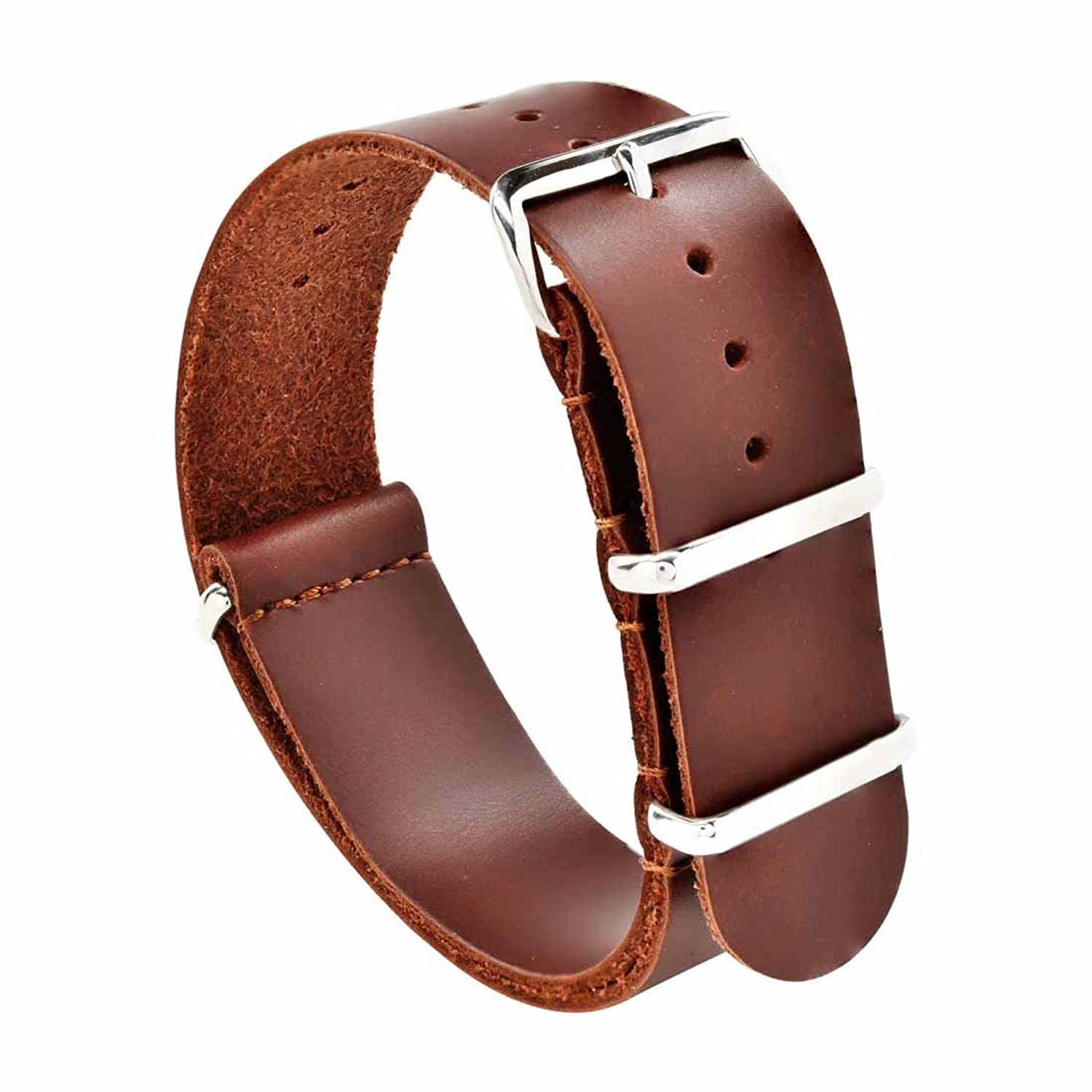 Amazoncom Natoskull 20Mm Brown Leather Nato Strap With Polished Stainless