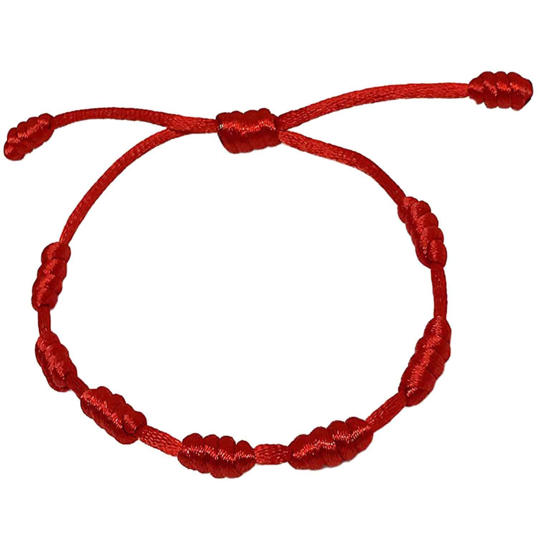 amuleto protección LOTES Pulseras rojas 7 nudos ritualizadas contra mal de ojo