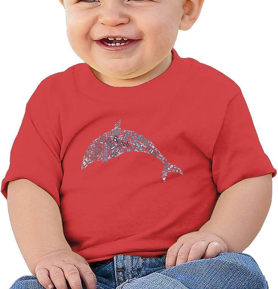 Kkidj Ooii Birthday Day Baby Girl Toddlers Beach Dolphin Short-Sleeve Tee