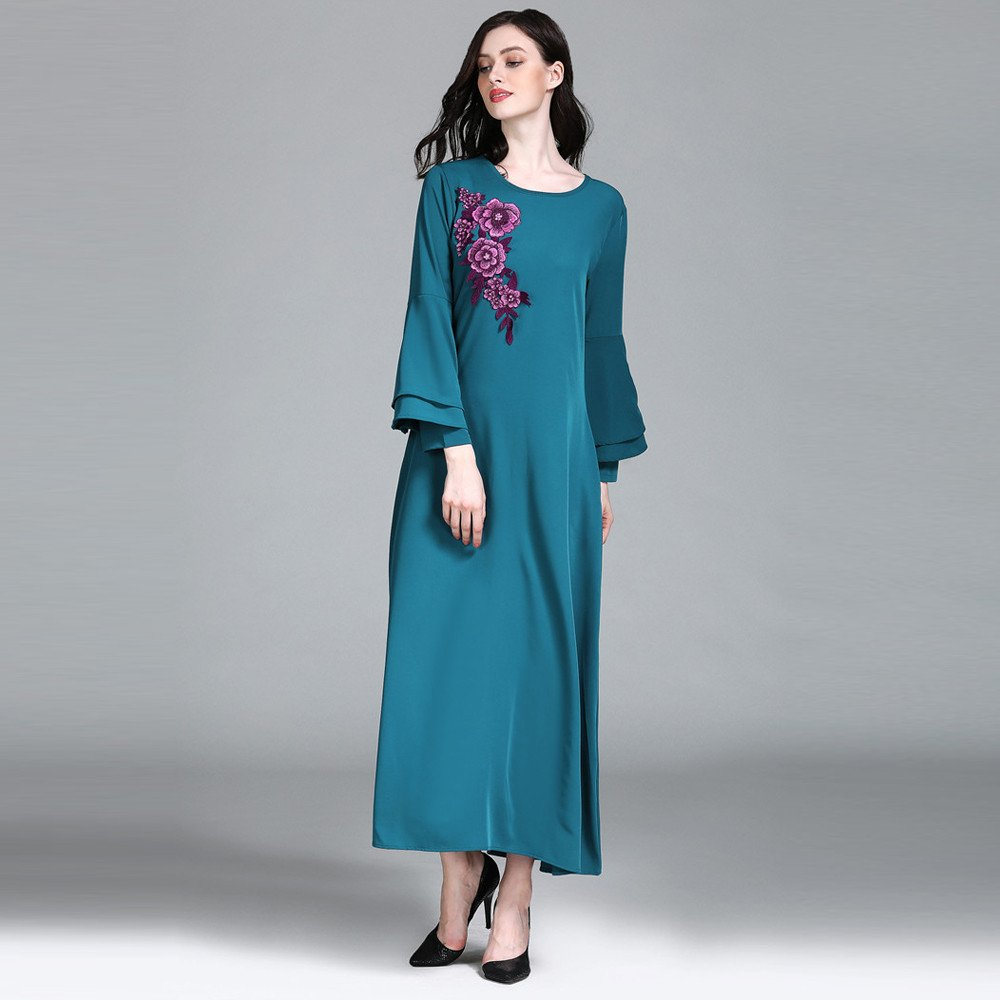 Kingko_ Women Cherry Plum Flowers Embroidery Dress Casual Maxi Dresses Vintage Loose Long Sleeve Dress Good for Muslim Daily Dress: Amazon.co.uk: Clothing