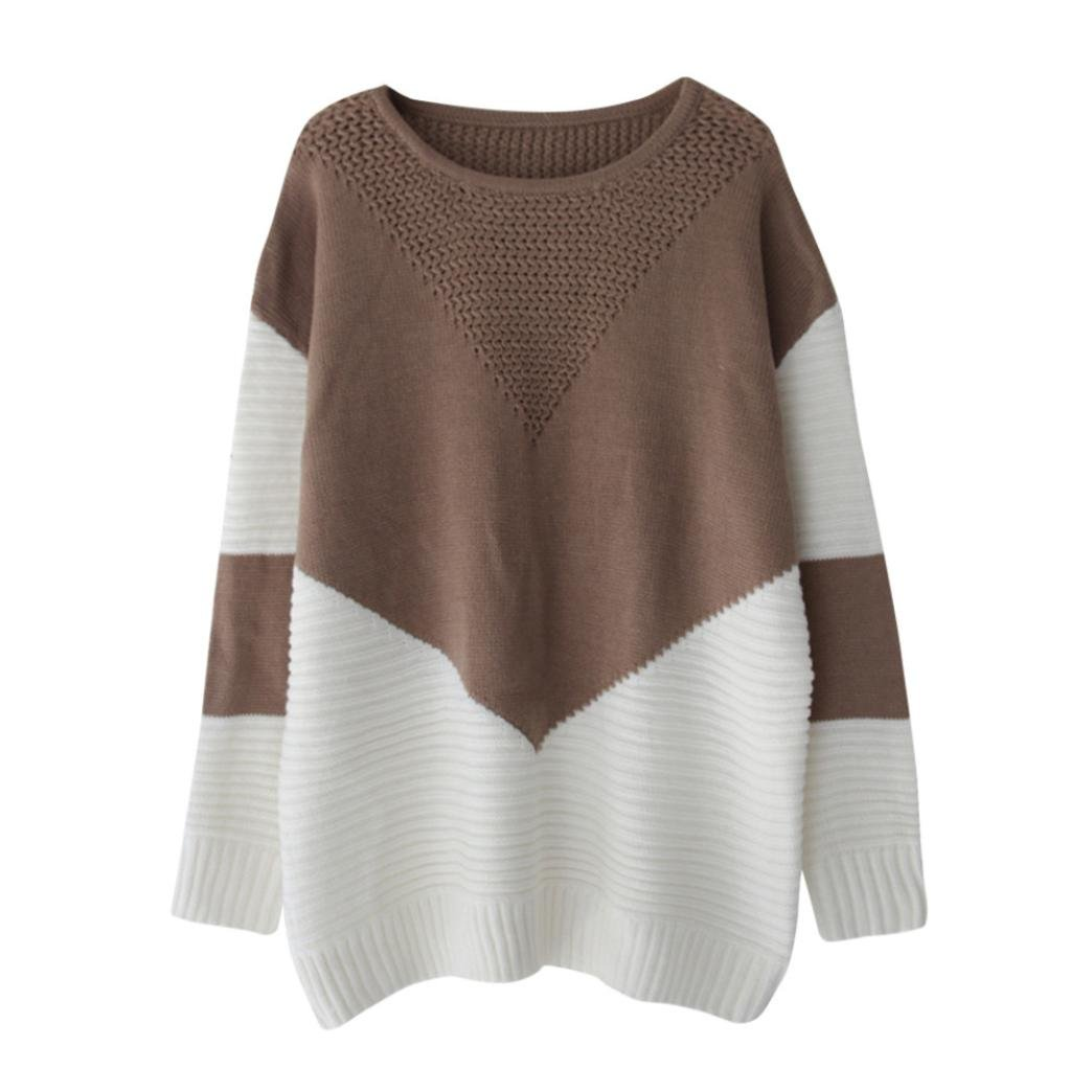 Amacok Fashion Women Solid Patchwork Knitted Long Sleeve O Neck Loose Outwear Knitwear Overcoat Sweater Cardigan (Khaki, M)