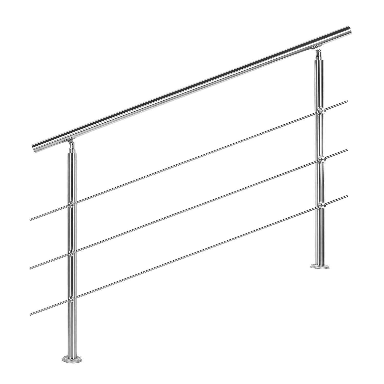 Wiltec Treppengeländer Edelstahl 3 Querstäbe 140cm Brüstung Handlauf Geländer Treppe