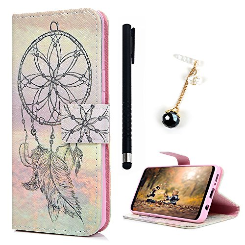 Card Bonded Wallet Leather (Samsung Galaxy S9+ Plus Case, REACHOPE Premium Flip Kickstand PU Leather Wallet Cover with ID Credit Card Holder Magnetic Closure Inner TPU Bumper Protective Shockproof Resistant Skin, Feather)