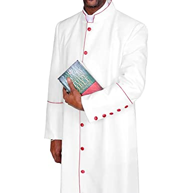 6a6e3b8d06 Amazon.com  Clergy Robe Cassock for Pastor White with Red  Clothing