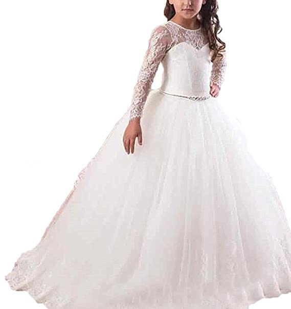 63c4845eb9f7f VIPbridal Abiti maniche lunghe del fiore del merletto Ragazze comunione  abiti (10)