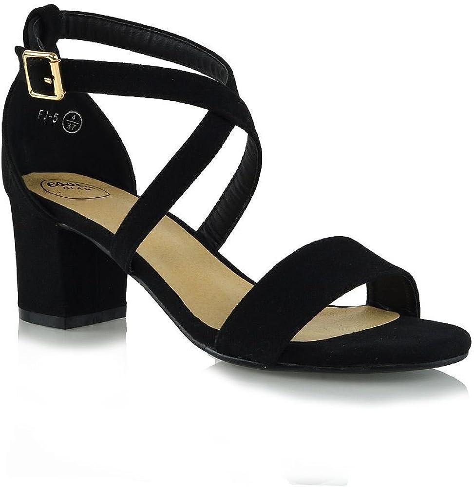 Womens Strappy Sandals Block Low Heel