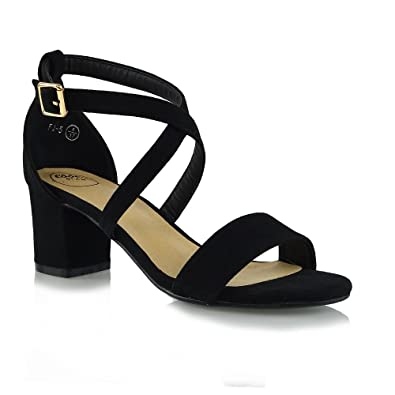 2427f18a93e Womens Strappy Sandals Block Low Heel Ladies Ankle Strap Party Evening Shoes  Black Faux Suede 3