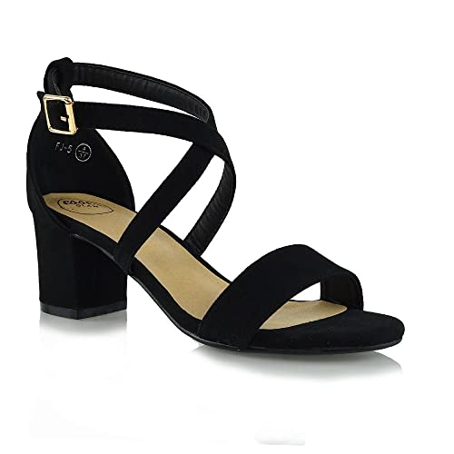 9fb2a62baf5 ESSEX GLAM Womens Low Heels Strappy Block Heel Ankle Strap Evening Sandals