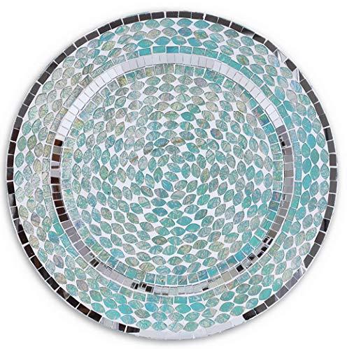 - Hemau 13 Ocean Mosaic Tiles Art Glass Charger Plates, Blue, Set of 4, Aqua Beach Dining Table Tabletop, Supplies, 13, Teal   Model WDDNG -2528   13