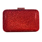 DMIX Womens Large Crystal Clutch for Wedding Bridal Party Prom Evening Bag Red