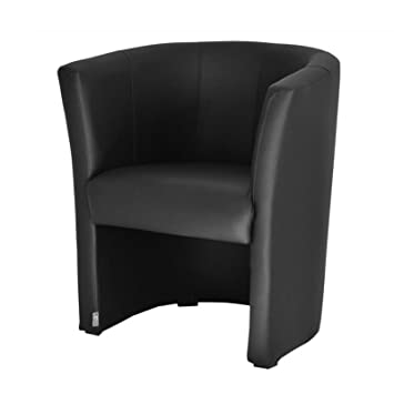 FORTISLINE TOP W042 01 Fauteuil Club en simili cuir Noir Amazon