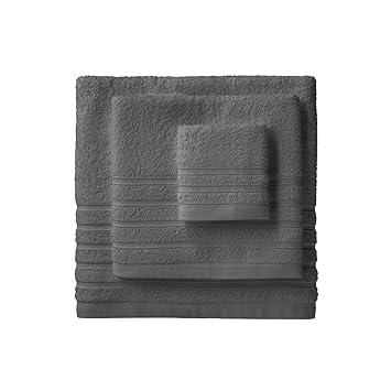 Barceló Hogar 05040010026 Juego de 3 toallas para bidé, lavabo y ducha, modelo Diamante, rizo americano, gris: Amazon.es: Hogar