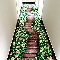 MAXYOYO 3D Green Flower Road Living Room Bedroom Bedside Area Rug 31 63 Inch 3D Creative Green Flower Bedroom Carpet Bedside Floor Mat