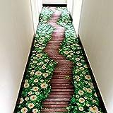 Cheap 3D Green Flower Road Living Room Bedroom Big Area Rug 63 by 94 Inch – MAXYOYO 3D Creative Green Flower Bedroom Carpet Large Carpet Rug