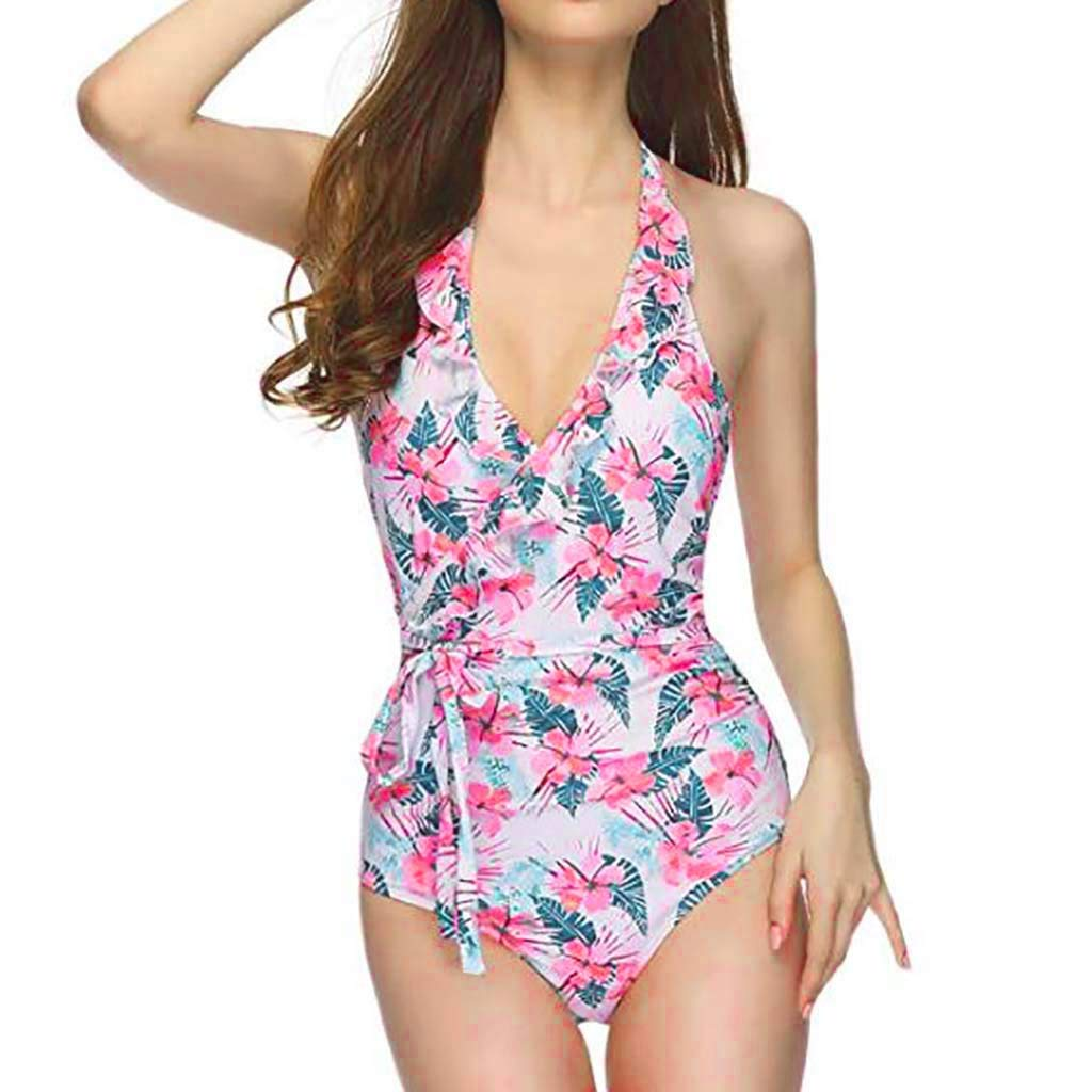 Lavany Womens Ruffles Halter Bathing Suits 1 Piece High Waisted Lace-up Swimsuits
