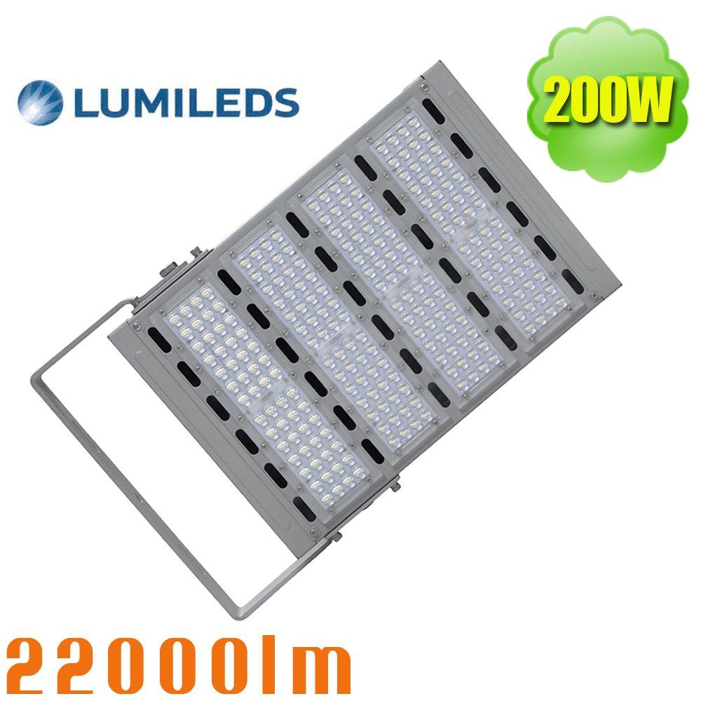 Integrated 200Watt LED Flood Light Soccer Field Lighting, 1000W HID Parking Lot Retrofit, Waterproof IP65 Exterior Building Lighting, Daylight 5700K SMD 3030 Outdoor Floodlight