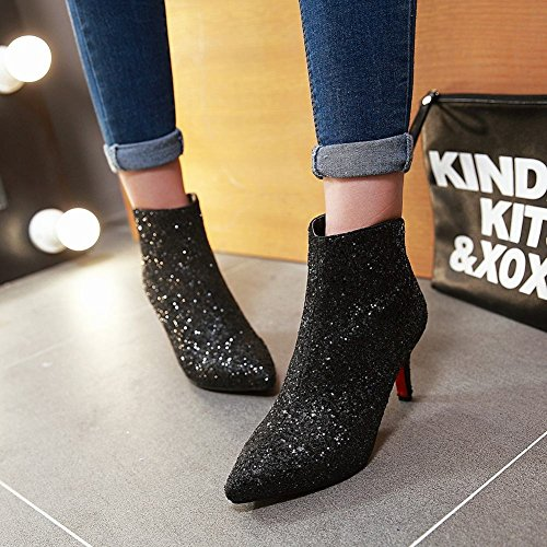 High Black Sequins Pointed Short Heel Carolbar Toe Women's Boots 7fxw88TE