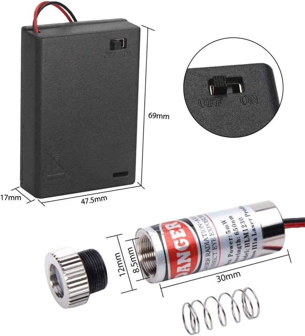 2pcs AA bater/ía soporte CTRICALVER 2pcs piezas l/áser en forma de cruz M/ódulo l/áser enfocable de 650 nm Cruz en forma de l/áser l/áser sintonizable cruz roja 3-5V con lente de pl/ástico
