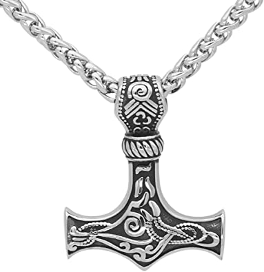 GuoShuang Men Stainless Steel Wolf Head Norse Viking Amulet Thor Mjolnir Necklace King Chain with Valknut Gift Bag