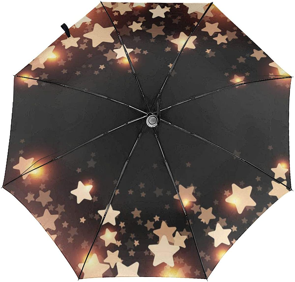 Black Starry Background Gold Compact Travel Umbrella Windproof Reinforced Canopy 8 Ribs Umbrella Auto Open And Close Button Customized