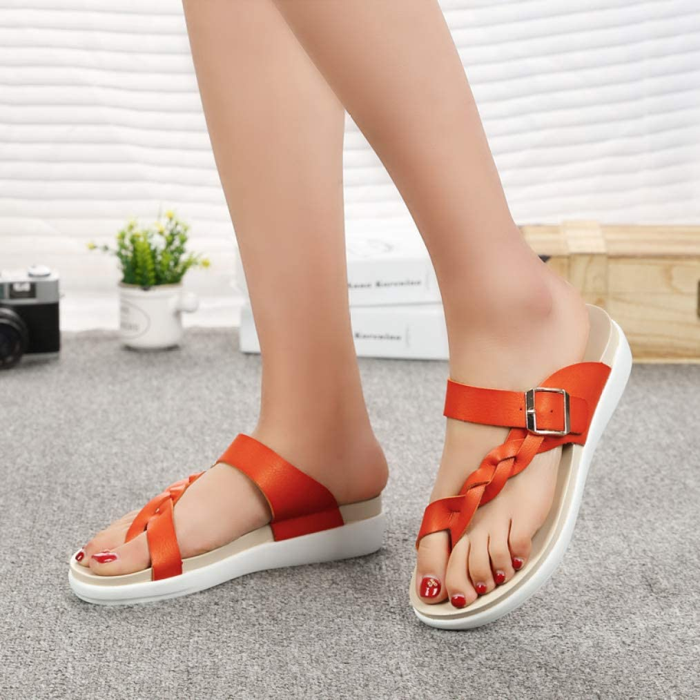 Ladies Summer Flip Flops Anti-Slip Comfortable Clip Toe Casual Fashion Beach Flat Sandals