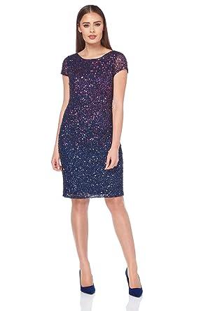 1a2d690fb86 Roman Originals Women's Ombre All Over Sequin Dress - Ladies Elegant  Sparkle Glitter Shift Pencil Dresses