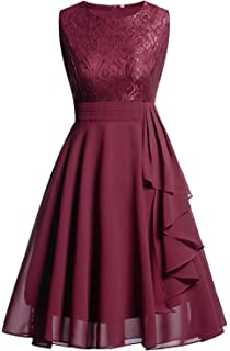 Heartfly Womens Vintage Satin Boat Neck Bridesmaid Dress Party Cocktail Evening Dresses