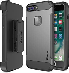 iPhone 7 Plus Case, Trianium [Duranium Series] Heavy Duty Protective Cases Shock Absorption Hard Covers w/ Built-in Screen Protector+ Holster Belt Clip Kickstand for Apple iPhone 7 Plus 2016-Gunmetal