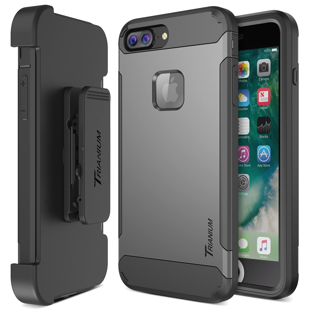 iPhone 7 Plus Case, Trianium [Duranium Series] Heavy Duty Protective Cases Shock Absorption Hard Covers w/Built-in Screen Protector+ Holster Belt Clip Kickstand for Apple iPhone 7 Plus 2016-Gunmetal