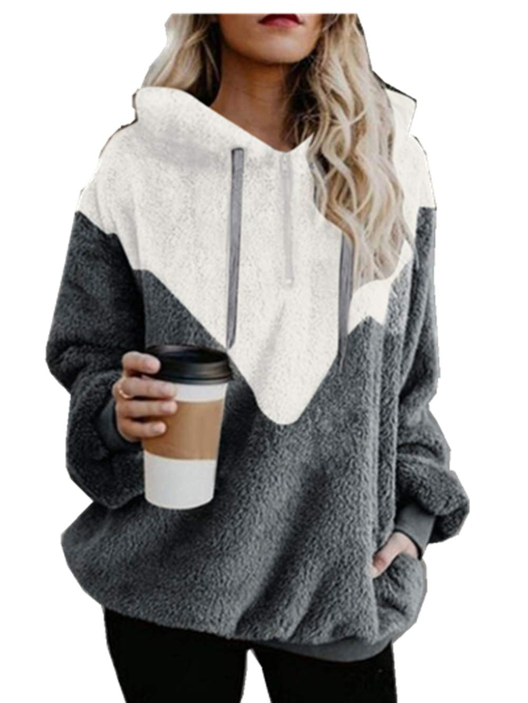 LBPSUUEW YEVS Women Hooded Sweatshirt Patchwork Winter Warm Wool Zipper Pockets Cotton Outwear Gray by LBPSUUEW YEVS