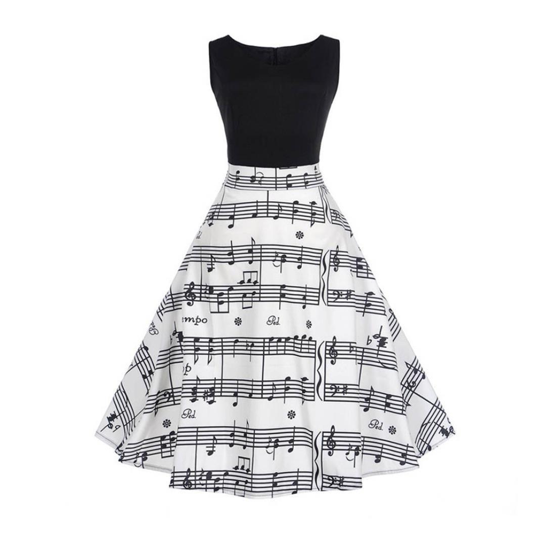Huhu833 Vintage Retro 1950 Audrey Hepburn Gedruckte Musik Note /Ärmel ohne Abend Cocktail Party Kleid