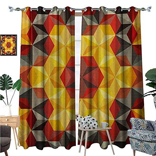 Modern Art Blackout Window Curtain Psychedelic Design with Geometric Kaleidoscope Diagonal and Fractal Star Image Customized Curtains W96 x L84 ()