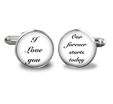 Amazon.com: Groom Cufflinks - Wedding Date Cufflinks - Grooms Gift ...