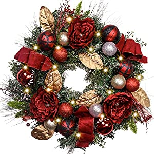 """Valery Madelyn Pre-Lit 24"""" Trendy Red and Black Christmas Wreath with Ball Ornaments and Ribbon, Battery Operated 20 LED Lights"""