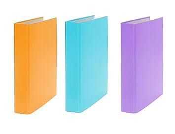 3x ring binder a5 2 ring folder colour each 1x orange turquoise