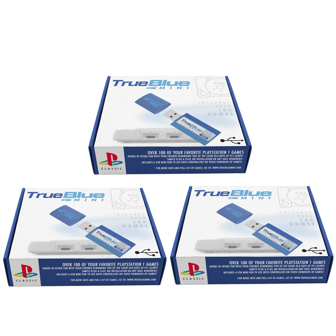 Petforu True Blue Mini Pack for PlayStation Classic (Crackhead Pack 64GB + Meth Pack 64GB + Fight Pack 32GB)