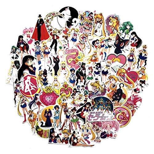 75pcs Sticker Decals Sailor Moon Laptop Vinyl Stickers car Sticker for Snowboard Motorcycle Bicycle Phone Computer DIY Keyboard Car Window Bumper Wall Luggage Decal Graffiti Patches (Sailor Moon)