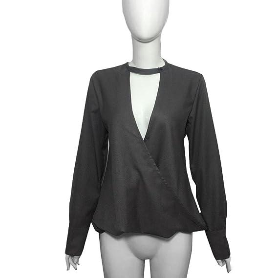Mujer y Niña otoño fashion fiesta carnaval,Sonnena ❤ Camisa suelta de cuello alto con cuello en V para mujer Tops de manga larga casual para fiestas y ...