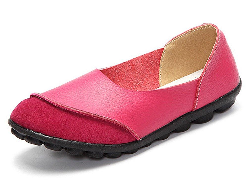 CCZZ Moccasin Femme de Cuir Loafers Casuel Rose Bateau Chaussures de CCZZ Flats Rose f44c760 - gis9ma7le.space