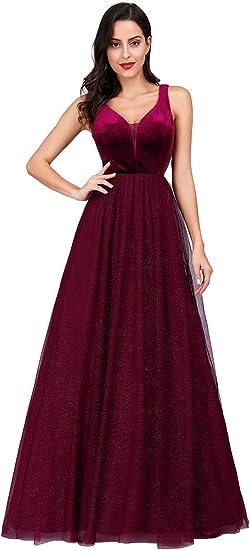 Ever-Pretty Vestidos de Fiesta Terciopelo Tul Cuello en V sin Mangas Corte Imperio A-línea para Mujer 07849