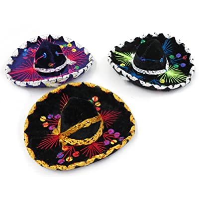 "5"" Mexican Decorative Mini Charro Sombrero Felt Hat 3 Pack Fiesta Assortment Mariachi: Clothing"