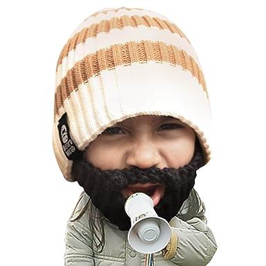 ee756e92488 Beard Head Kid Scruggler Beard Beanie -Knit Hat and Fake Beard for Kids  Toddlers Black