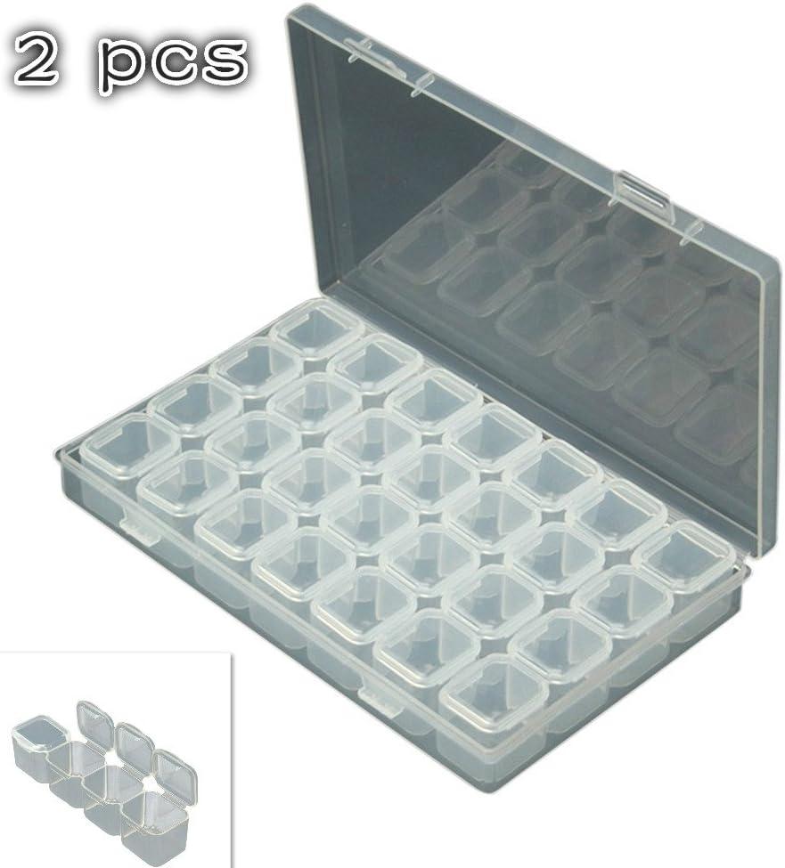 Handfly Caja organizadora de joyería con 24 compartimentos, accesorios de belleza, esmalte de uñas, joyería y manualidades, accesorios de pintura, cajas de accesorios, herramientas de punto de cruz: Amazon.es: Hogar