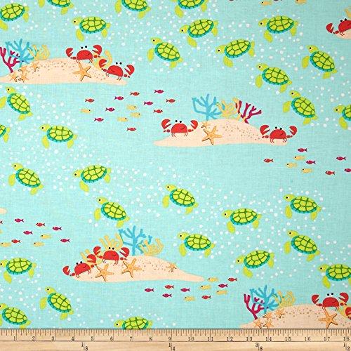 Michael Miller Sea Buddies Meetin' at the Reef Seafoam Fabric