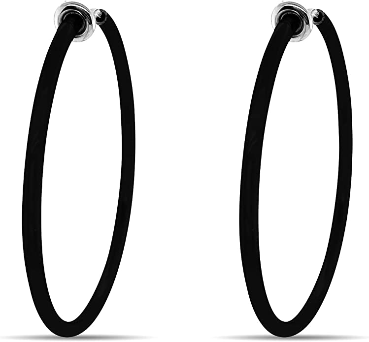 Clip-on 1-34 Silver Tone Plated Spring Action Fake HOOP Non-Pierced Earrings Clip Earring Component,1 pr#J708 Jewelry Finding