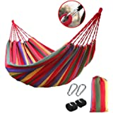 "Portable Cotton Rope Outdoor Swing Fabric Camping Hanging Hammock Canvas Bed Strong Hammock + Huge Metal Hooks + Strap + Carry Bag (78.74"" x 59.05"", red)"